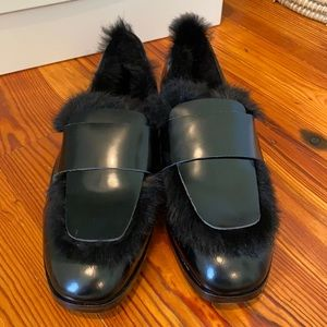 Jimmy Choo Tedi Leather and Rabbit Fur Loafers